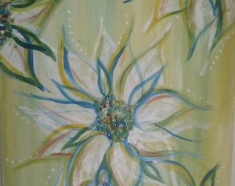 Light green painting, floral painting, 16x20, mixed media art, rhinestones, abstract art