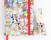 Art journal Cats Colour paper Kid writing Notebook memory book Family book  Fabric cover Sketchbook gift for kid for her
