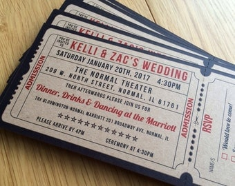 100 personalised Cinema / Movie ticket themed wedding invitations