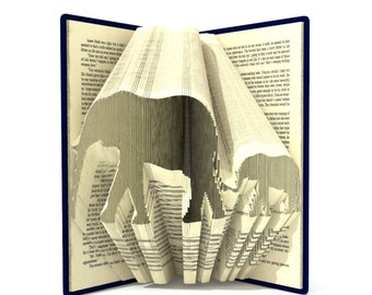 Book folding pattern - ELEPHANT with BABY - 256 folds + Tutorial with Simple pattern - Heart - AN1102