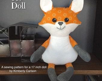 Happy Fox Sewing Pattern; stuffed fox, PDF fox doll, plushie pattern, fox pattern