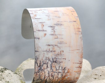 Birch Tree Cuff, BirchBark Cuff, Adjustable Metal Cuff, Boho Chic Cuff, Custom Printed Cuff Bracelet, Photo Cuff