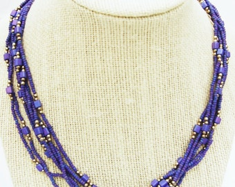 Deep Periwinkle Blue Multistrand Necklace  Free Shipping in US