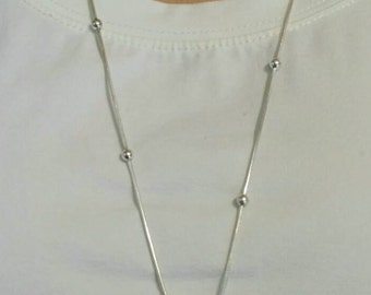 Agate Silver Pendant with Silver Chain Necklace, 30in