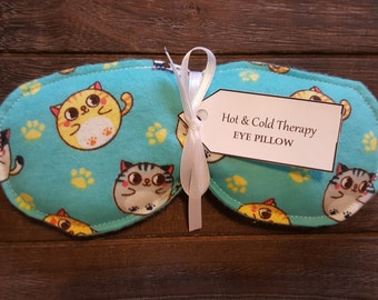 Eye Pillow - Hot & Cold Therapy - Bubble Cats (flannel)