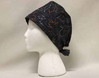 Neon Constellations Stars Print Surgical Scrub Cap Dentist Chemo Hat