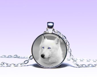 White Wolf Art Pendant Wolf NECKLACE Animals Jewelery Charm Pendant for Him or Her