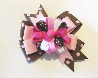 Cowgirl Hair Bow, 2 in 1 Hair Bow, Pink and Brown Hair Bow, Cowboy Bow