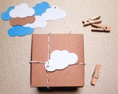 "Cloud Tags | 100 Pretty WHITE, KRAFT or BLUE Gift Tag | Baby Shower, Wedding Party Favor Labels | 2"" x 1.25"" 