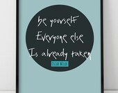 Be yourself, Oscar Wilde Large Art Typography Poster Inspirational Quote Letterpress Motivational Caligraphy Scripture Art Giclee Print