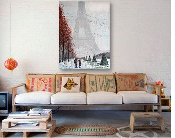"""Large original cityscape in acrylic, """"Paris in snow,2 umbrellas"""" on deep edged canvas, 30 x 40 inches, contemporary, impressionism,"""