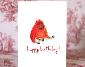 Cute Orangutan Birthday Card