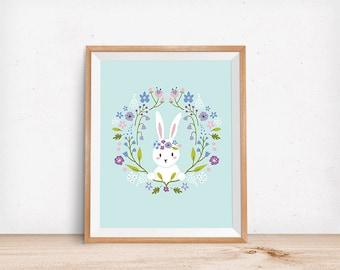 Floral Crown Bunny Print, Floral Print, Digital Poster, Children's Wall Art, Modern Decor, Illustration, Rabbit, Girl's Decor, Nursery