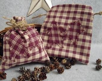 Country/Rustic/Primitive Burgundy Plaid Drawstring Bag