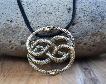 NeverEnding Story Antique Brass Necklace, Auryn Necklace, Leather, Choker Option, Never Ending Story Snake Pendant, Snake Circle, Men's