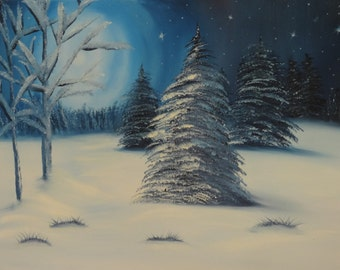 Landscape Oil Painting - An Original Painting by Wendy Margrave - The moon on the breast of the new-fallen snow