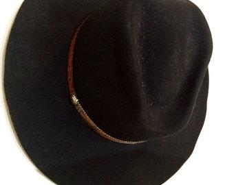 70s Cowboy Hat // Vintage Cowbody Hat // Black Cowboy Hat