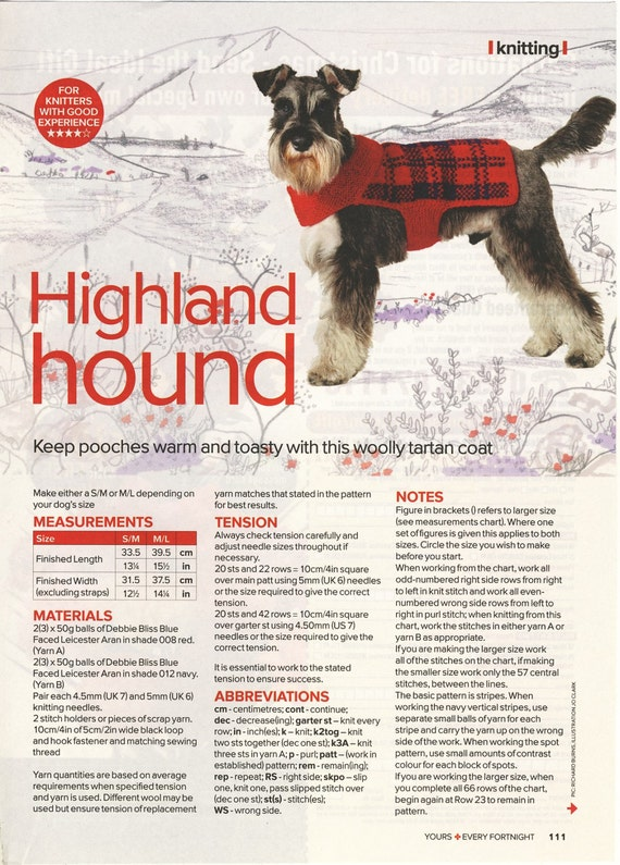 Debbie Bliss TARTAN Dog Coat Knitting Pattern HIGHLAND HOUND
