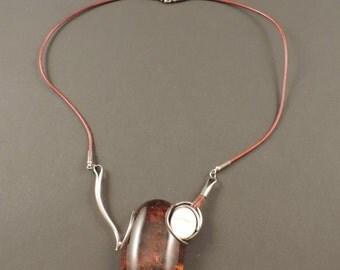 Collana in ambra baltica, madreperla e argento 925
