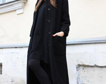 Black Coat/ Long Coat/ Winter Warm Coat/ Women Outerwear/Wool Coat/ Oversize Coat/Women Coat/Long Jacket/ Autumn Coat/Boho Maxi Coat/R00035
