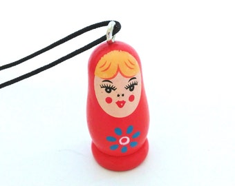 Red Russian Doll Necklace + Free Shipping - matryoshka doll, babushka doll necklace, russian doll jewelry, unique jewelry, girls jewelry