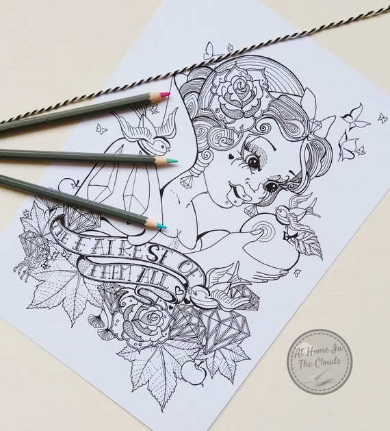 Adult Colouring Page, Coloring Page, Snow White, The Fairest OF Them All, Fairy Tale, Fantasy, Tattoo