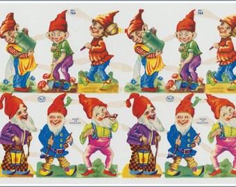 Original vintage die-cut paper scraps - Gardening Gnomes