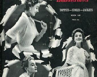 FREE US SHIP Bernat 168 Handicrafter 1954 Vintage Retro 1950's 50's Toppits Stoles Jacket Shawls Glamour Knitting Crochet Magazine