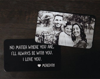 Personalized Wallet Card Black with Free Gift Box, Etched Wallet Insert, Metal Wallet Card,Valentines Day Gift,Anniversary Gift,Etched Photo