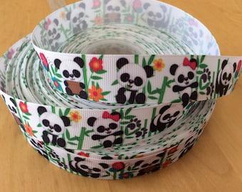 """Panda Bear Grosgrain Ribbon - 7/8"""", Panda Ribbons"""