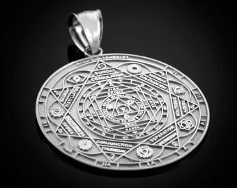 Sterling Silver Om 7 Chakra Calendar Yoga Meditation Pendant (S/M)
