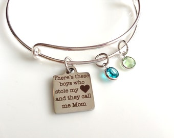 Personalized Mom Bracelet/ Boys Mom Gift /Swarovski Crystal/ Sons/ Twin Mom Gift / Mothers Day/ Christmas/ New Mom Gift