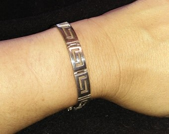 Rescued, Restored & Recycled Grecian Style Sterling Silver Bracelet