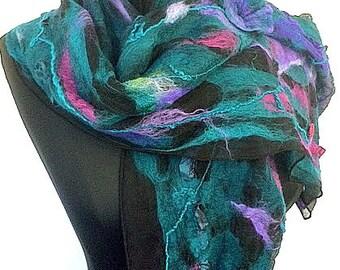 Felted Scarf, Silk Felted Scarf, Nuno Scarf, Fashion Accessories, Turquoise & Purple, Felted Wrap, Wedding Accessories, Silk Shawl: Peacock