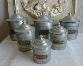 French Kitchen Vintage Aluminium Canisters, French Farmhouse, Set of Six Kitchen Storage Tins, Odds and Ends Tins
