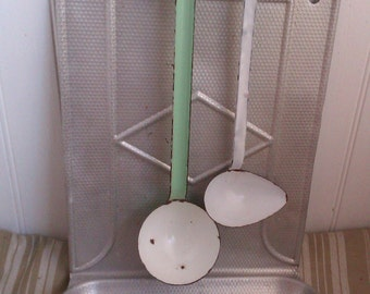 Vintage Enamel Ladles, Green and White Enamelware, French Farmhouse Kitchen Utensils