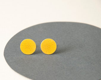 Yellow Stud Earrings - Funky sunshine yellow Studs - geometric studs - summer fashion