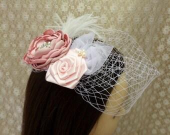 Wedding Birdcage Veil and Fascinator, Bridal Fascinator, Birdcage Veil, Blusher Veil, Wedding Headpiece, Ivory or White Veil, Wedding Veil