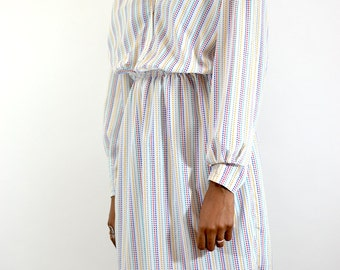 Vintage 80s / 90s Long Sleeve White Dotted Dress
