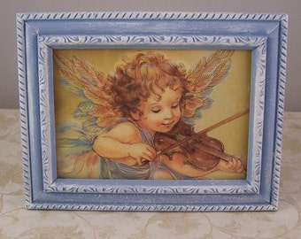 4x6 Picture Frames Angel Picture Frame 4x6 - Blue Distressed Picture Frames Home & Living Decor Frames - Victorian Angel Picture Shabby Chic