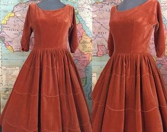 The Exeter Dress / 1950s Emma Domb Velvet Party Dress / XS-S