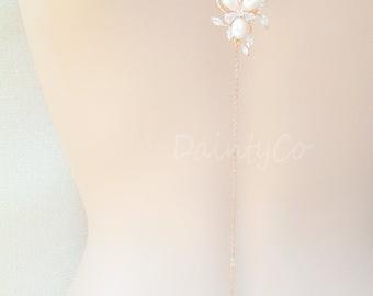 Rose gold Pearl Backdrop necklace flower bridal necklace back drop backless dress low open back dress bride wedding jewelry wedding jewelry