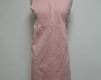 2446 - Vintage BOBBIE BROOKS Dress Size M Pink Solid Knee Length Sleeveless 1960s