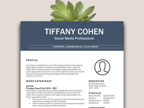 Classic Resume TemplateCV TemplateOne Page Resume Template