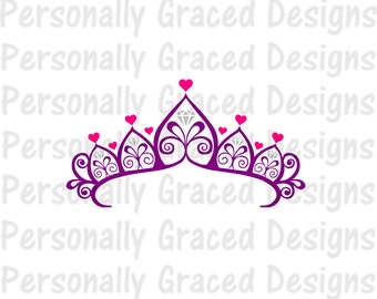 SVG, DXF, EPS Cut file Princess Diamond Heart Crown, Taira svg, Princess Svg, silhouette cut file, cameo file, Instant Download, Fancy Cown