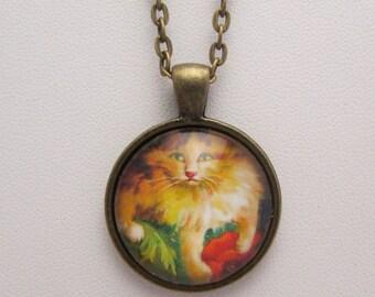 Boulanger Cat Glass Necklace, Boulanger Cat Glass Pendant, Glass Photo Pendant, Glass Photo Necklace, Vintage Cat Pendant, Cat Jewelry, Cat