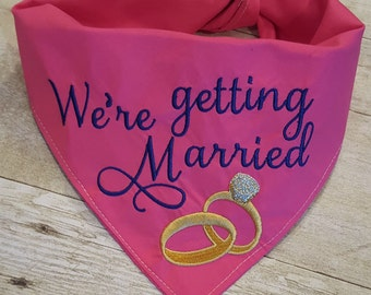 We're Getting Married Embroidered Dog Bandana