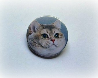 Heavy breathing cat - pinback button or magnet 1.5 Inch