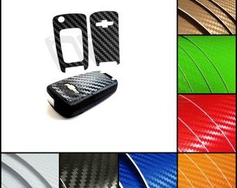 Chevrolet Chevy Carbon Fiber 3D Vinyl Sticker Key Fob Wrap Decal Overlay Keyring - Camaro Malibu Cruze Spark Volt Trax Impala Sonic Equinox