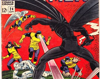 X-men 24, Xmen comic book. Cyclops, Beast, Iceman, Angel, Professor X, Uncanny Vintage Silver Age. 1966 Marvel Comics in VG/FN (5.0)